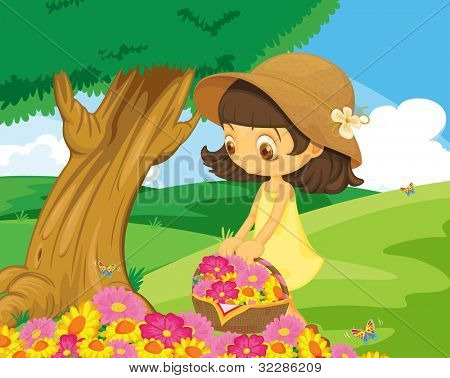 Cute girl picking flowers in the park - EPS VECTOR format also available in my portfolio.