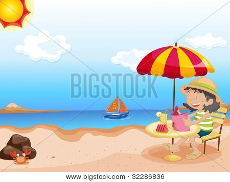 Illustration of girl reading at the beach - EPS VECTOR format also available in my portfolio.
