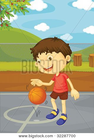 Illustration of boy playing basketball - EPS VECTOR format also available in my portfolio.