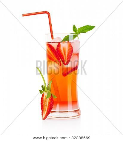 Cold strawberry drink isolated over white background, refreshing summer beverage, red fruity cocktail with mint, glass of fresh juice