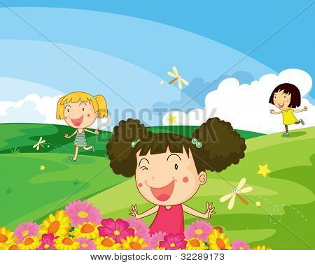 Illustration of kids playing in the park - EPS VECTOR format also available in my portfolio.