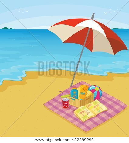 Illustration of a blanket of items at the beach - EPS VECTOR format also available in my portfolio.