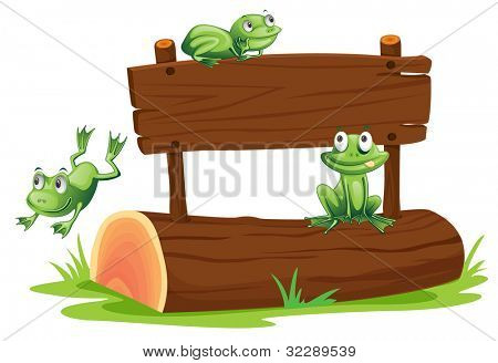 Illustration of frogs with sign - EPS VECTOR format also available in my portfolio.