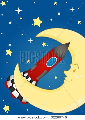 Illustration of rocket and moon - EPS VECTOR format also available in my portfolio.