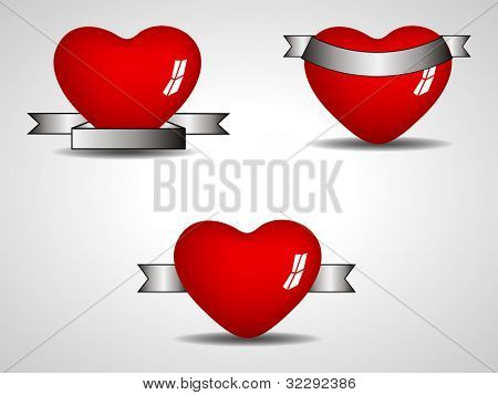 Glossy heart shapes design with different style of ribbon  isolated on grey background. EPS 10, can be use as label, sticker, tag, button and icon.