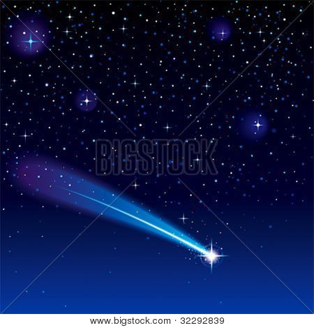 Shooting star going across a starry sky. (EPS 10)