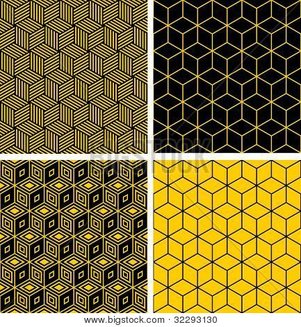 Seamless patterns set. Geometric textures with optical illusion effect. Vector art.
