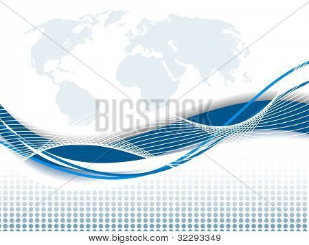 Professional Corporate or Business template for financial presentations showing globe in silver and blue color on world map with blue wave. EPS 10. Vector illustration.