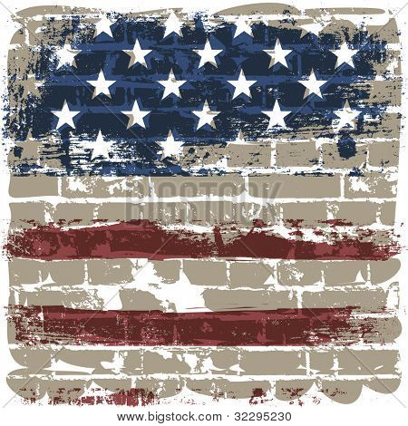 The American flag symbol against a brick wall. Raster version.