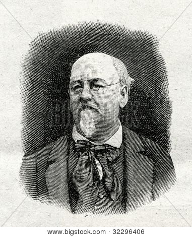 Emil Erkman - French writer. Engraving by Shyubler. Published in magazine