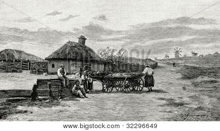 The well. Engraving by Shliper from picture by  Vasilkovsky. Published in magazine