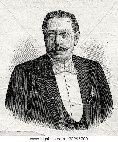 H. Kruger - a banker, financier. Engraving by  Shyubler. Published in magazine