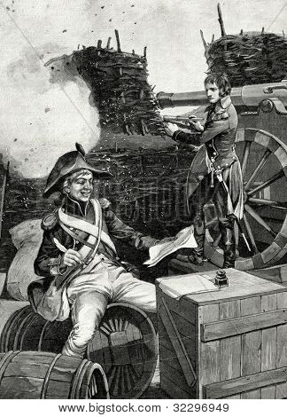 Emperor Napoleon Bonaparte and Junot sergeant during siege of Toulon. Engraving by Uni�³n  from picture by  Tiony. Published in magazine