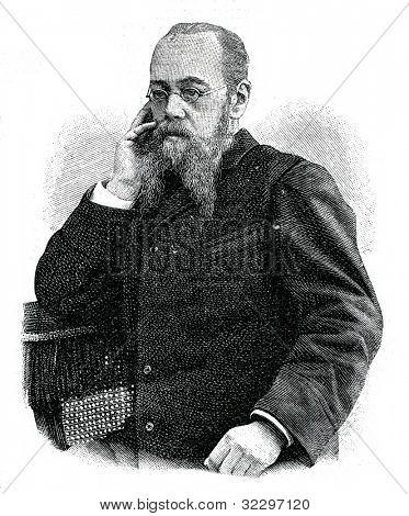 Vladimir Mikhnevich (pseudonym - Kolomenskiy Candide) - ournalist, essayist, novelist. Engraving by  Shyubler. Published in magazine