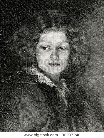 Child's head. Engraving by Erdelt from picture by Gedan. Published in magazine