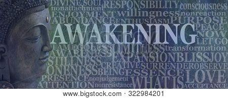 poster of Buddha Spiritual Awakening Word Tag Cloud - Deity Buddha Head On Left With The Word Awakening Beside