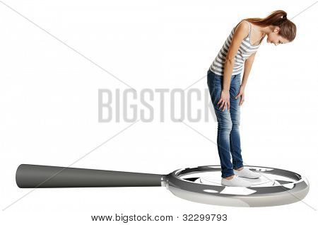 Teen student girl standing on giant lupe, isolated on white