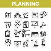 Planning Collection Elements Vector Icons Set Thin Line. Chess Figures And Presentation, Mechanism G poster