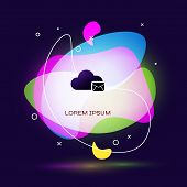 Black Cloud Mail Server Icon Isolated On Dark Blue Background. Cloud Server Hosting For Email. Onlin poster