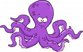 pic of devilfish  - Purple octopus on white background vector illustration - JPG