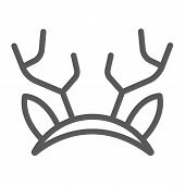 Reindeer Ears Mask Line Icon, Holiday And Decor, Party Mask Sign, Vector Graphics, A Linear Pattern  poster