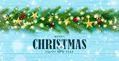 Merry Christmas And Happy New Year Horizontal Banner. Holiday Background With Golden Stars, Rowan, G poster