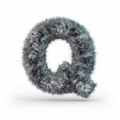 Uppercase Fluffy And Furry Gray Font. Letter Q. 3d Rendering poster