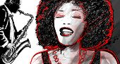 pic of saxophones  - Illustration of an afro american jazz singer with saxophone player - JPG