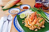 Homemade Food, Thai Food Pad Thai With Shrimp, Thai Style Noodles. poster