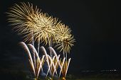 Bright Beautiful Colorful Fireworks, Colored Fireworks Lights In The Night Sky, New Year Holiday Fir poster