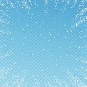 Amazing Falling Stars Christmas Background. Subtle Flying Snow Flakes And Stars On Blue Transparent  poster