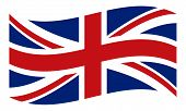 Great Britain, United Kingdom Flag. Uk Flag Icon. Waving Flag Of United Kingdom. Great Britain Wavin poster