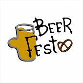 Beer Fest Logo. Hand Drawn Beer Mug With Beer Fest Hand Lettering. Isolated Design Element poster