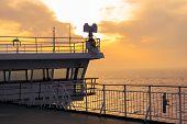 Cruise Ship White Cabin With Big Windows. Wing Of Running Bridge Of Cruise Liner. White Cruise Ship poster