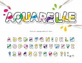 Cartoon Colorful Font For Kids. Creative Watercolor Abc Letters And Numbers. Bright Aquarelle Alphab poster