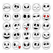 Vector Collection Of Halloween Faces. The Nightmare Before Christmas. Halloween Jack Faces Silhouett poster