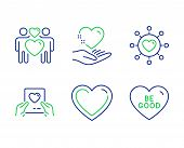 Love Mail, Hold Heart And Dating Network Line Icons Set. Heart, Love Couple And Be Good Signs. Valen poster