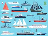 Ships In Harbor. Shipping Speedboating Cruiser And Sailboat, Isolated Vector Flat Sea Marine Travel  poster