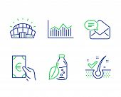 Finance, Money Diagram And New Mail Line Icons Set. Water Bottle, Sports Stadium And Anti-dandruff F poster