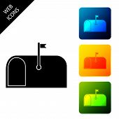 Mail Box Icon Isolated On White Background. Mailbox Icon. Mail Postbox On Pole With Flag. Set Icons  poster