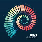 Big Data Visualization. Abstract Background With Spiral Array And Binary Code. Connection Structure. poster