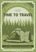 Camping Adventure, Mountain And Forest Wild Nature Travel Trips. Vector Tourist Camp Tent, Tourist B poster