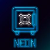 Blue Glowing Neon Line Safe Icon Isolated On Black Background. The Door Safe A Bank Vault With A Com poster
