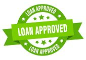 Loan Approved Ribbon. Loan Approved Round Green Sign. Loan Approved poster