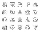 Business People Line Icons. Team, Meeting, Job Structure. Group People, Communication, Member Icons. poster