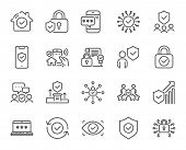 Security Line Icons. Cyber Lock, Password, Unlock. Guard, Shield, Home Security System Icons. Eye Ac poster