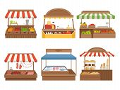Local Market. Street Food Places Stands Outdoor Farm Vegetables Fruits Meat And Milk Vector Pictures poster