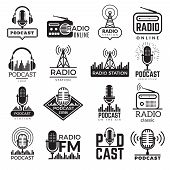 Radio Station Logo. Music Studio Podcast Speaker Vector Badges Collection. Radio Station Logo With A poster