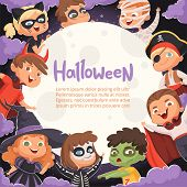 Halloween Frame. Cartoon Scary Background With Kids In Halloween Costumes Happy Party Invitation Vec poster