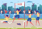 Women Taking Part In Running Competition Flat Cartoon Vector Illustration. Crossing Finish Line On S poster